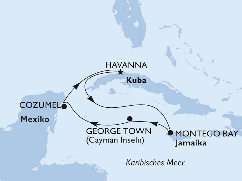Kuba, Jamaika, Cayman Islands, Mexiko, Belize, Honduras