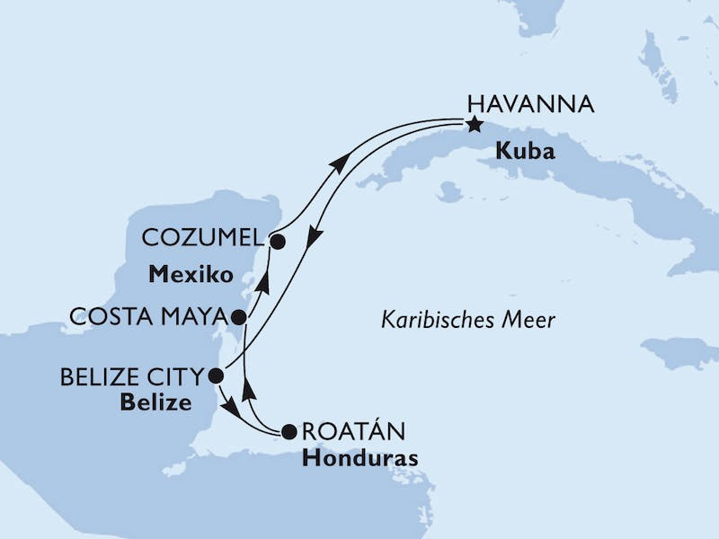 Kuba, Belize, Honduras, Mexiko, Jamaika, Cayman Islands