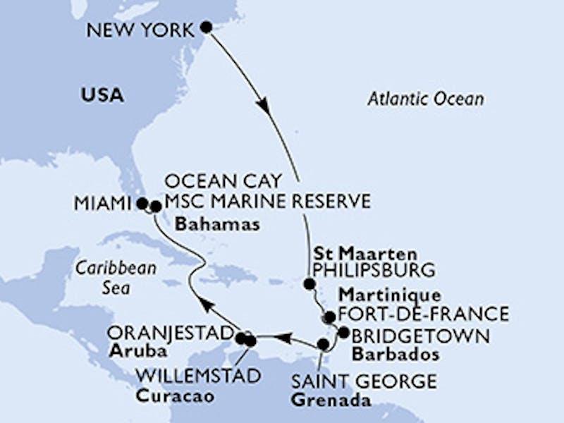 Usa, St. Maarten, Martinique, Barbados, Grenada, Aruba, Bahamas