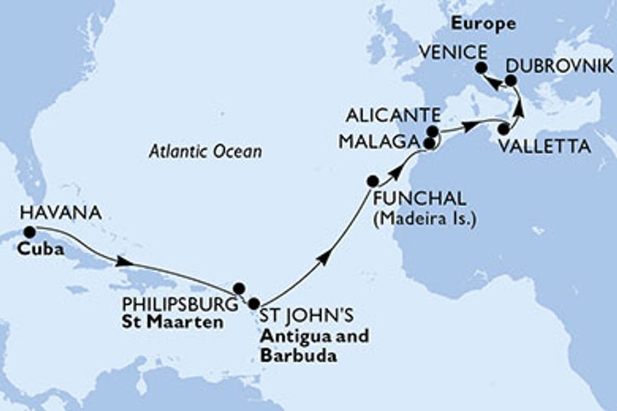 Kuba, St. Maarten, Antigua-Barbuda, Portugal, Spanien, Malta, Kroatien, Italien