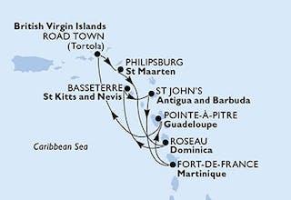 Martinique, Guadalupe, Virgin Islands (British), St. Maarten, Dominica, Saint Kitts - Nevis, Antigua-Barbuda
