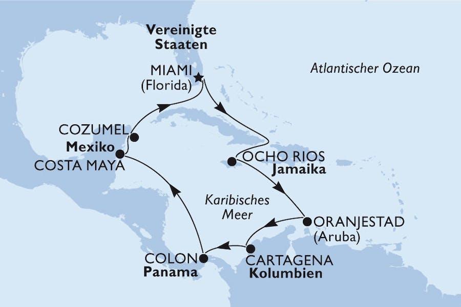Usa, Jamaika, Aruba, Kolumbien, Panama, Mexiko