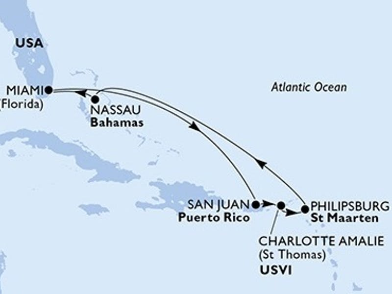 Usa, Puerto-rico, Virgin Islands (u.s.), St. Maarten, Bahamas