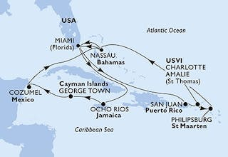 Usa, Jamaika, Cayman Islands, Mexiko, Bahamas, Puerto-rico, Virgin Islands (u.s.), St. Maarten