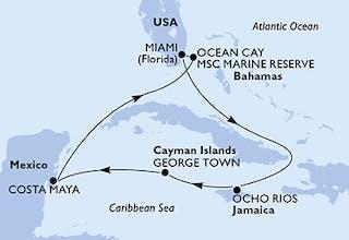 Usa, Jamaika, Cayman Islands, Mexiko, Bahamas