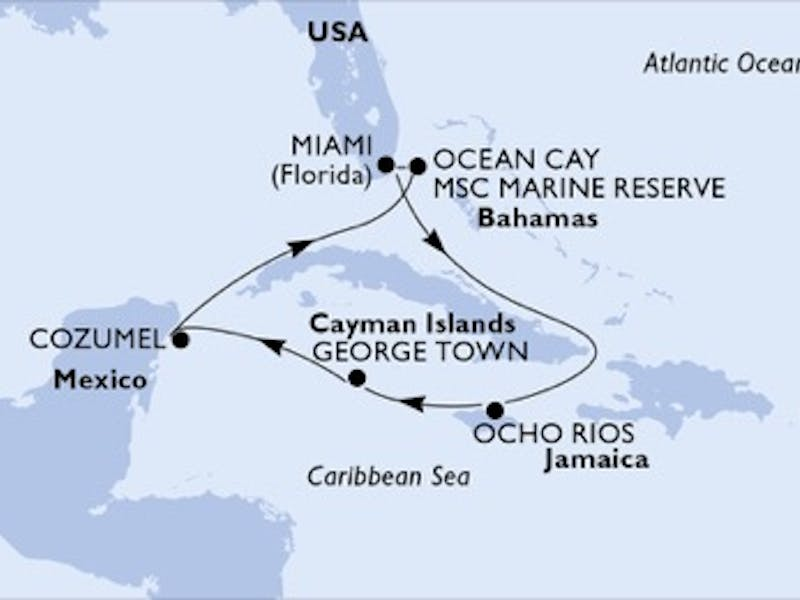 Usa, Jamaika, Cayman Islands, Mexiko, Bahamas