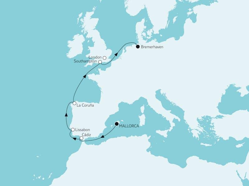 Mallorca bis Bremerhaven