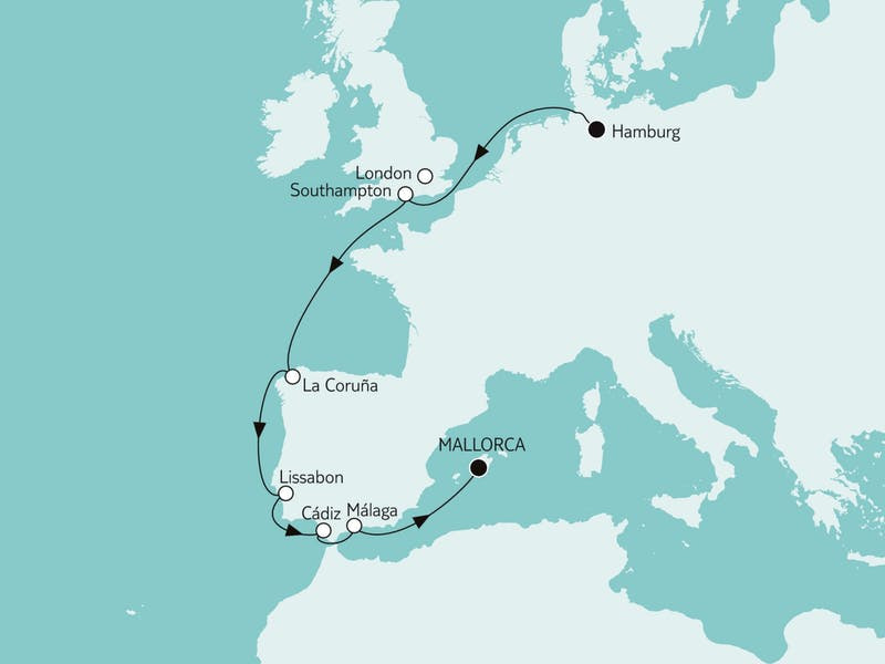 Hamburg bis Mallorca