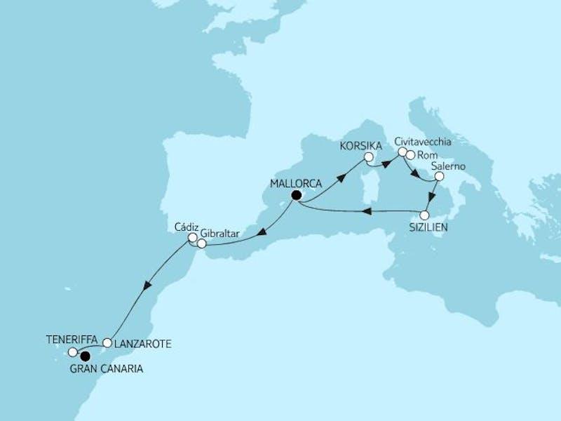 Mallorca bis Gran Canaria mit Palermo