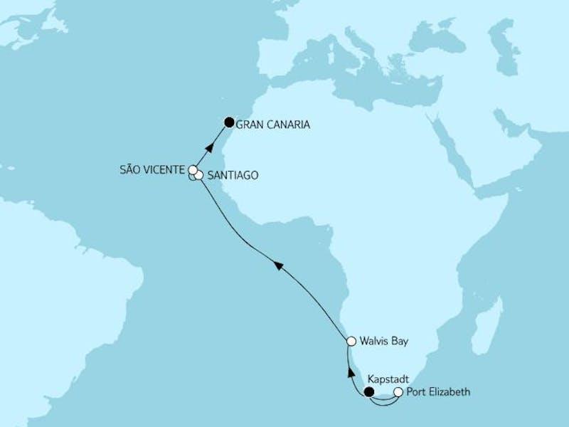 Kapstadt bis Gran Canaria mit Port Elizabeth