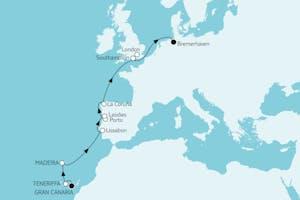 Gran Canaria bis Bremerhaven