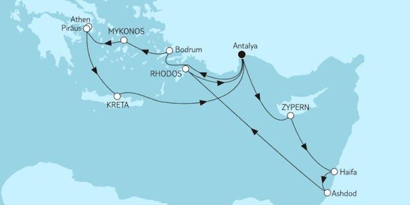 Östliches Mittelmeer mit Zypern & Kreta