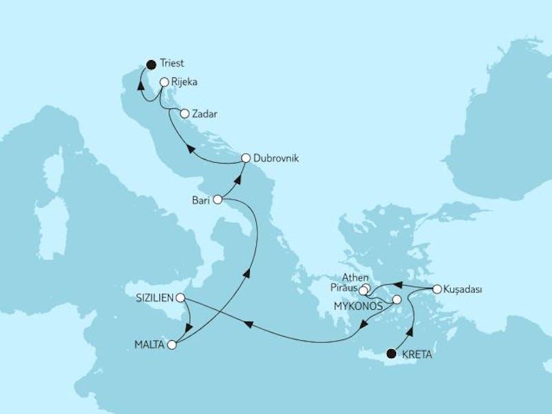 Kreta bis Triest