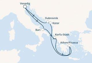 Italien, Griechenland, Montenegro, Kroatien