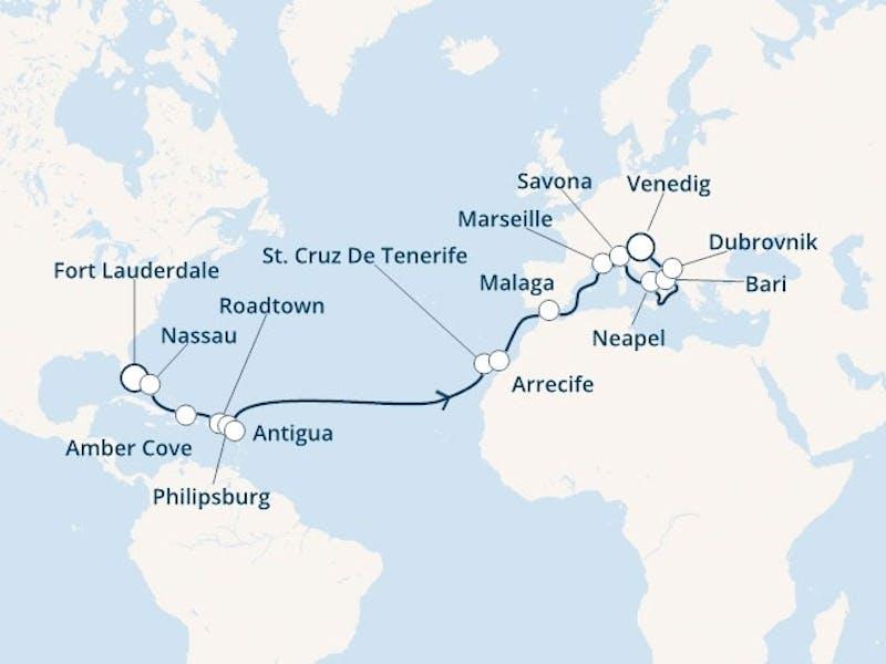 Florida, Bahamas, Jungferninseln, Antillen, Kanaren (Spanien), Spanien, Frankreich, Italien, Kroatien