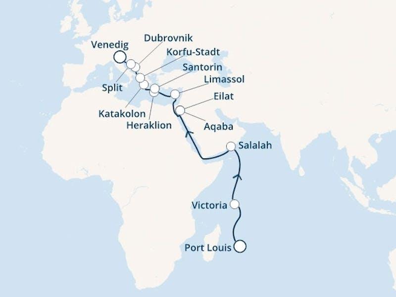 Mauritius, Seychellen, Oman, Israel, Jordanien, Zypern, Griechenland, Kroatien, Italien