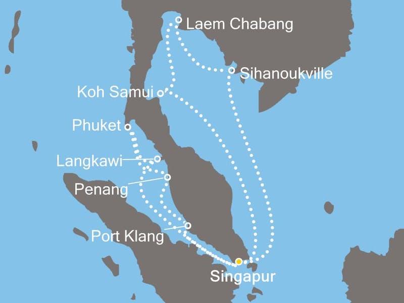Singapur, Thailand, Malaysia