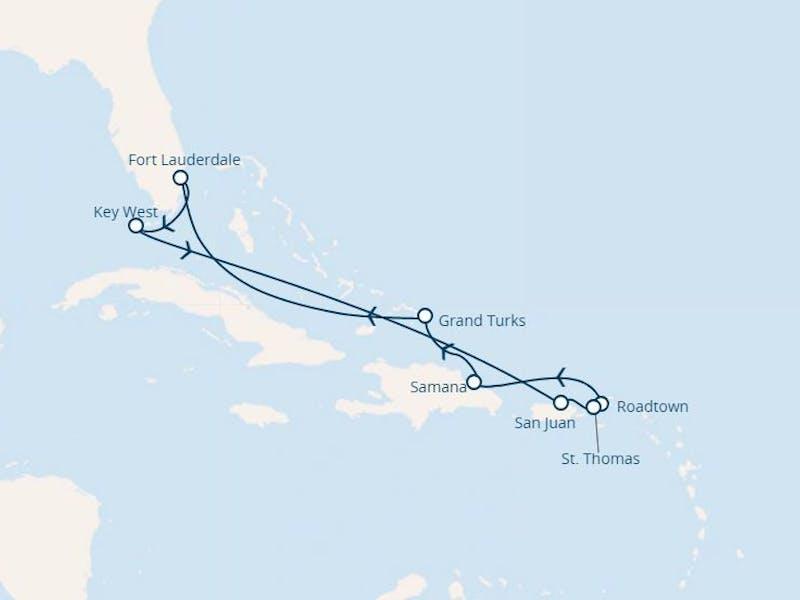 Florida, Puerto Rico, Jungferninseln, Dominik. Republik, Turks Inseln