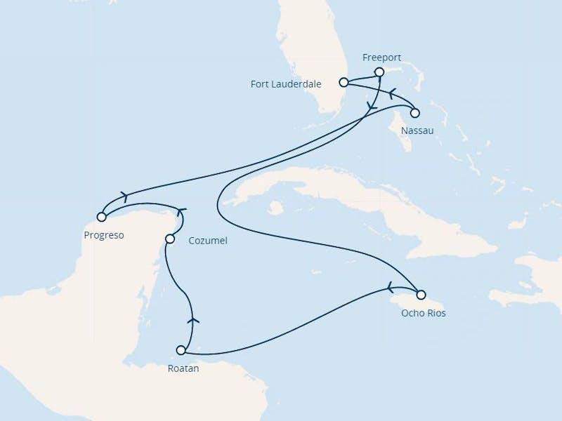 Florida, Bahamas, Jamaika, Honduras, Mexiko