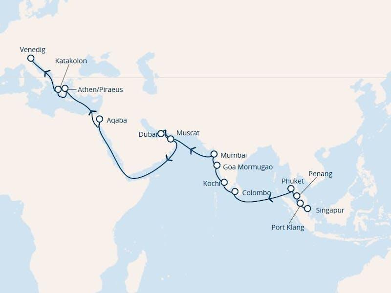Singapur, Malaysia, Thailand, Sri Lanka, Indien, Vereinigte Arabische Emirate, Oman, Jordanien, Griechenland, Italien