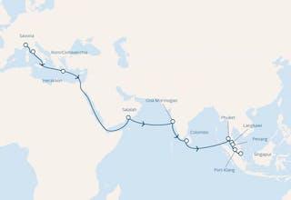 Italien, Griechenland, Oman, Indien, Sri Lanka, Thailand, Malaysia, Singapur