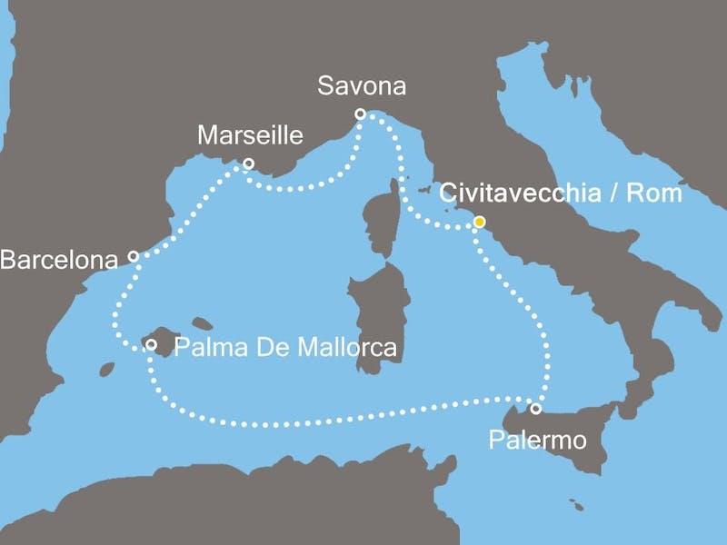 Italien, Frankreich, Spanien, Balearen (Spanien)