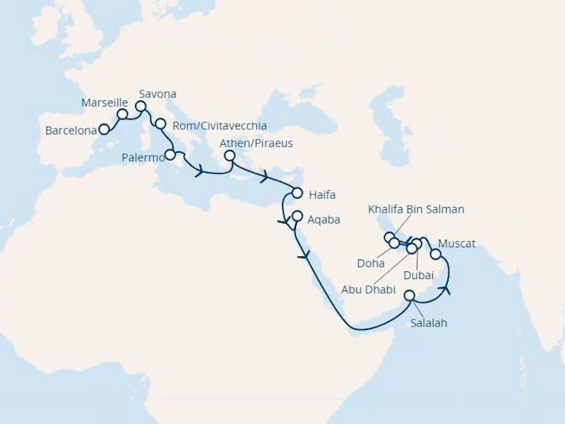 Spanien, Frankreich, Italien, Griechenland, Jordanien, Oman, Vereinigte Arabische Emirate