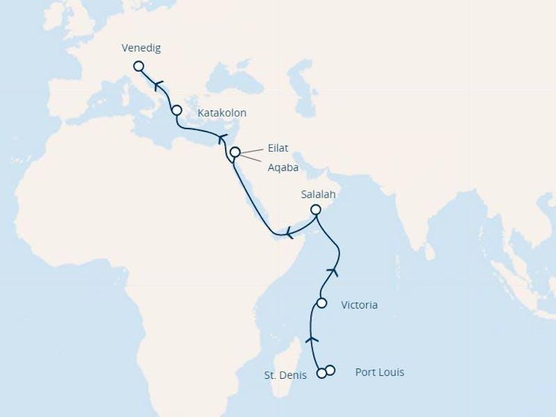 Mauritius, Réunion, Seychellen, Oman, Jordanien, Israel, Griechenland, Italien
