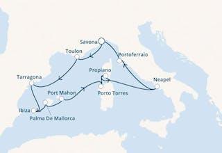 Italien, Spanien, Balearen (Spanien), Korsika (Frankreich)