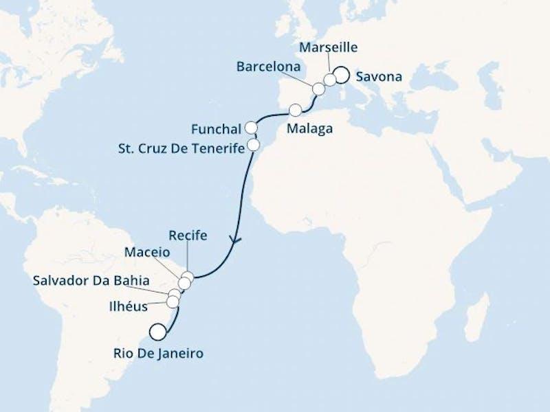 Italien, Frankreich, Spanien, Madeira, Kanaren (Spanien), Brasilien