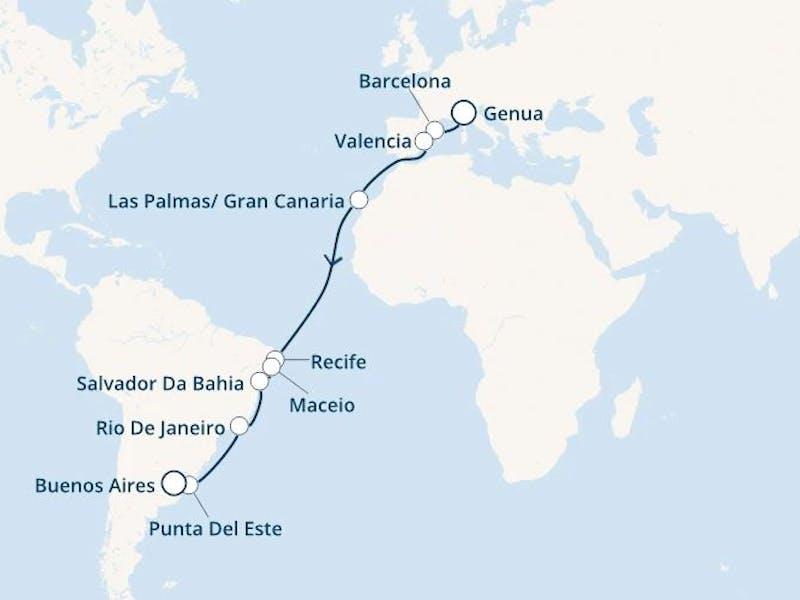 Italien, Spanien, Kanaren (Spanien), Brasilien, Uruguay, Argentinien