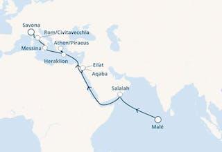Malediven, Oman, Jordanien, Israel, Griechenland, Italien