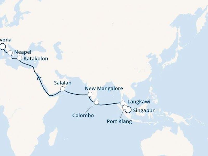 Singapur, Malaysia, Sri Lanka, Indien, Oman, Griechenland, Italien