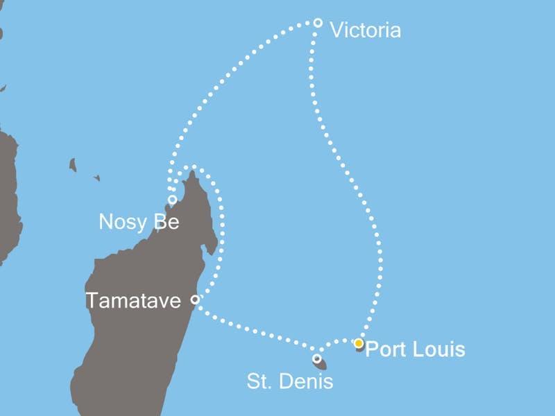 Mauritius, Seychellen, Madagaskar, Réunion