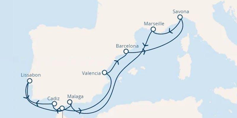 Italien, Frankreich, Spanien, Portugal, Gibraltar (großbritannien)