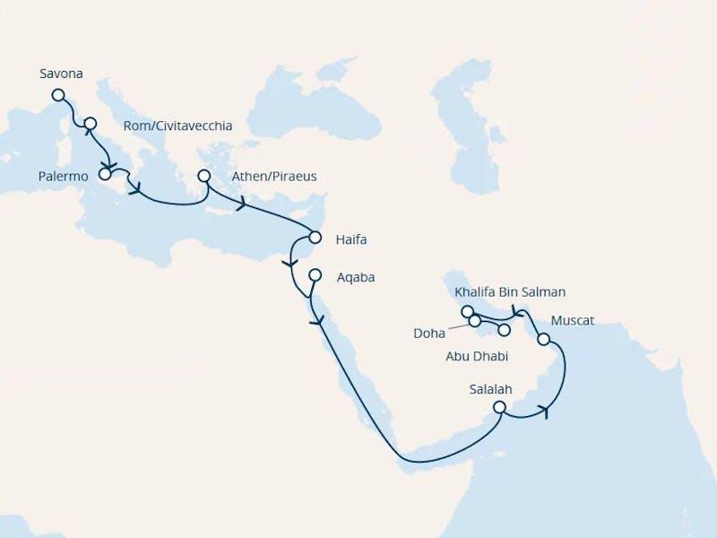 Italien, Griechenland, Jordanien, Oman, Vereinigte Arabische Emirate