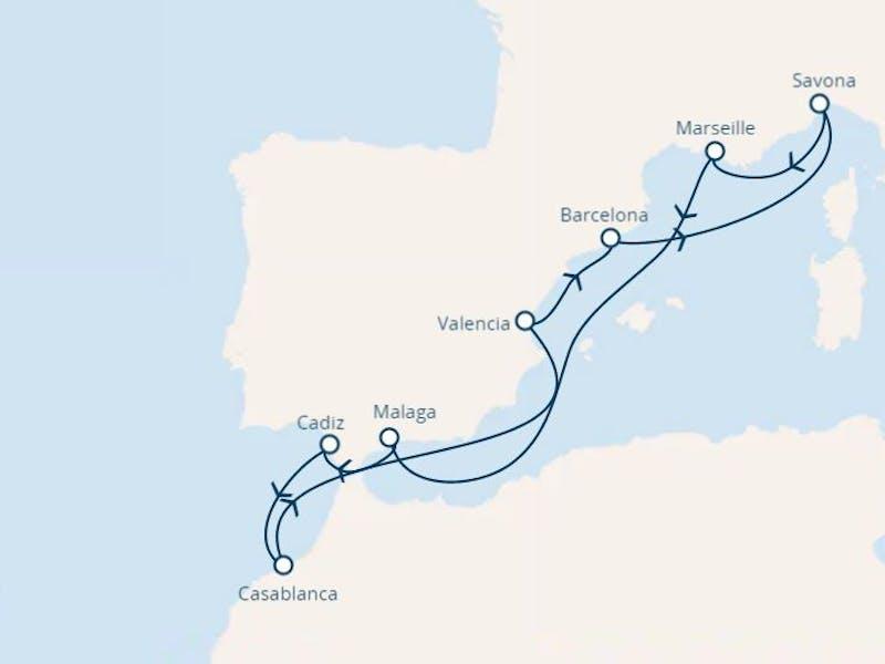 Italien, Frankreich, Spanien, Marokko